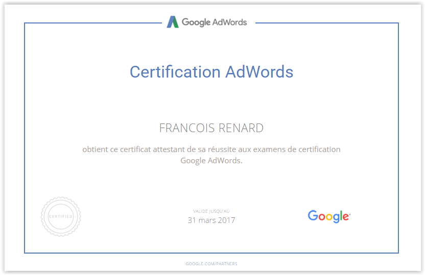 Certification Google Adwords unrenard.com
