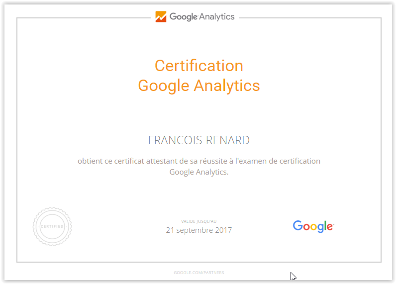 Certification Google Analytics unrenard.com
